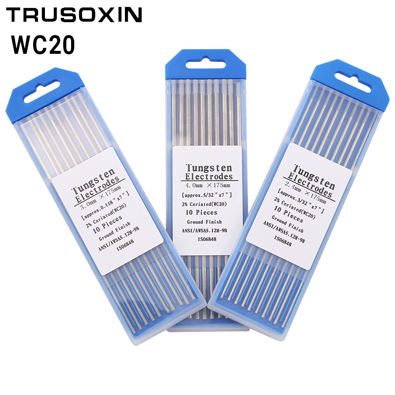 10 Pcs Gray Code 175MM Cerium Tungsten Electrode Head