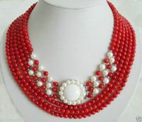 A 6 Rows Red Coral White Pearl 18KWGP Flower Clasp Pendant Necklace