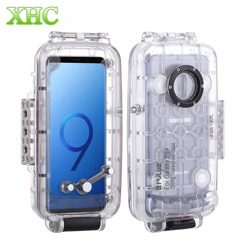 PULUZ 40m 130ft Waterproof Case Diving Housing Underwater Cover Case for Samsung Galaxy S9 S9 Plus