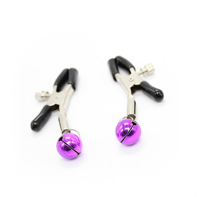 PERSONAGE 2pcs Tension Adjustable Stainless Steel Nipple Clamps Breast Clips with Purple Bells Sex Toys for