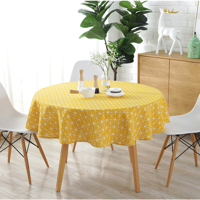 bfdafc25fe2b US $16.56 28% OFF|Spring Feeling Round Table Cloth Linen Cotton Geometric  Printed Tablecloth Home Tables Dustproof Covers Size Customizable-in ...