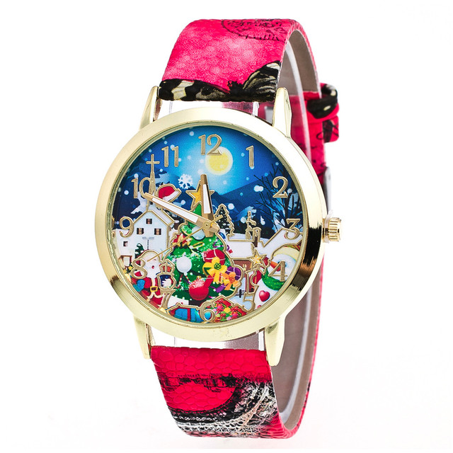 New Arrival Christmas Watches Top Brand Luxury Fuax Leather Analog Quartz Watche
