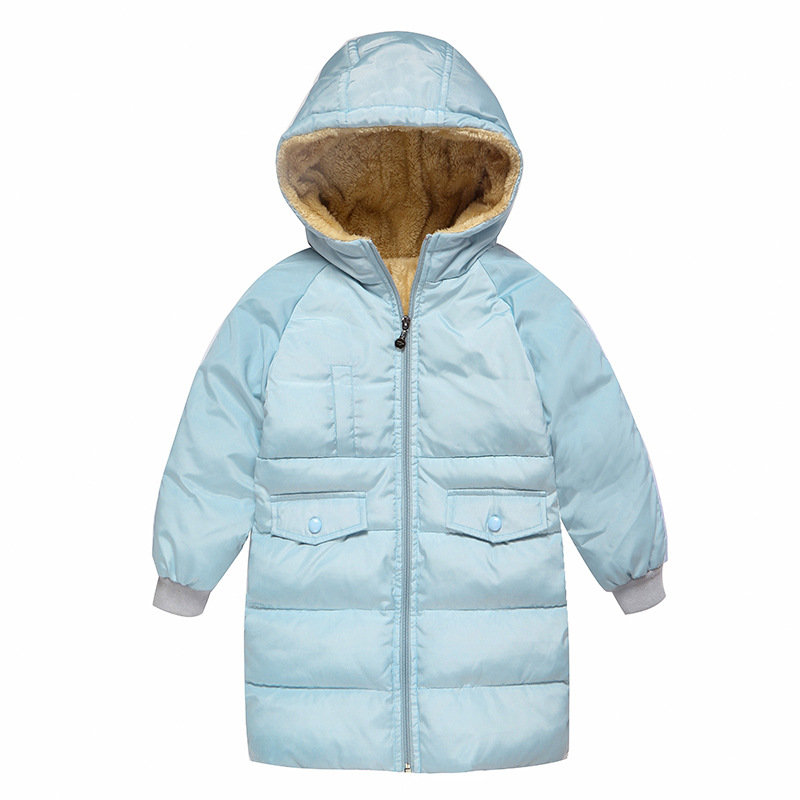 Winter Boy Gilrs  Long Down Jackets thick Cotton Padded Coat Kids Fleece Lining Hooded Outerwear Children's Clothes 3-10Years