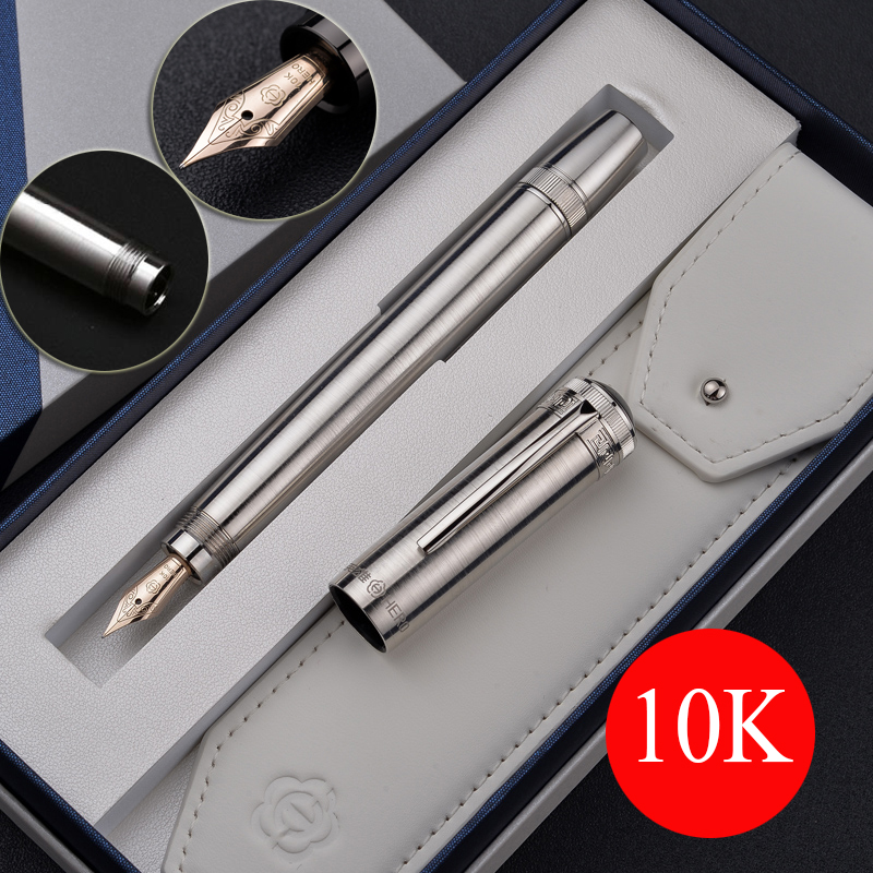 Luxury Full Metal Body Fountain Pen 10K Gold Nib Ink Writing Pens Hidden rotary ink absorber Business office stationery pen 1013 dikawen 891 gray gold dragon clip 0 7mm nib office stationery metal roller ball pen pencil box cufflinks for mens luxury