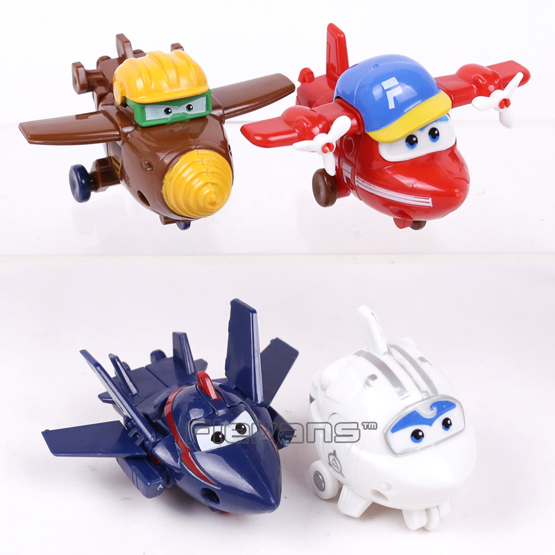 ABS Super Wings Deformation Airplane Robot Action Figures Super Wing Transformation Toys for Children Gift Brinquedos 4pcs/set