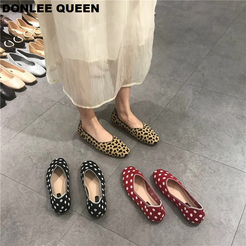 Fashion Flats Casual Shoes Women Stretch Knitted Leopard Moccasins Breathable Autumn Cozy Work Shoes Soft Driving Loafers Mujer