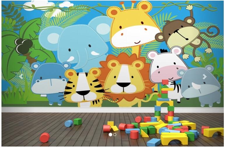 custompapel de parede infantil cosido animales de la selva mural a la sala de estar