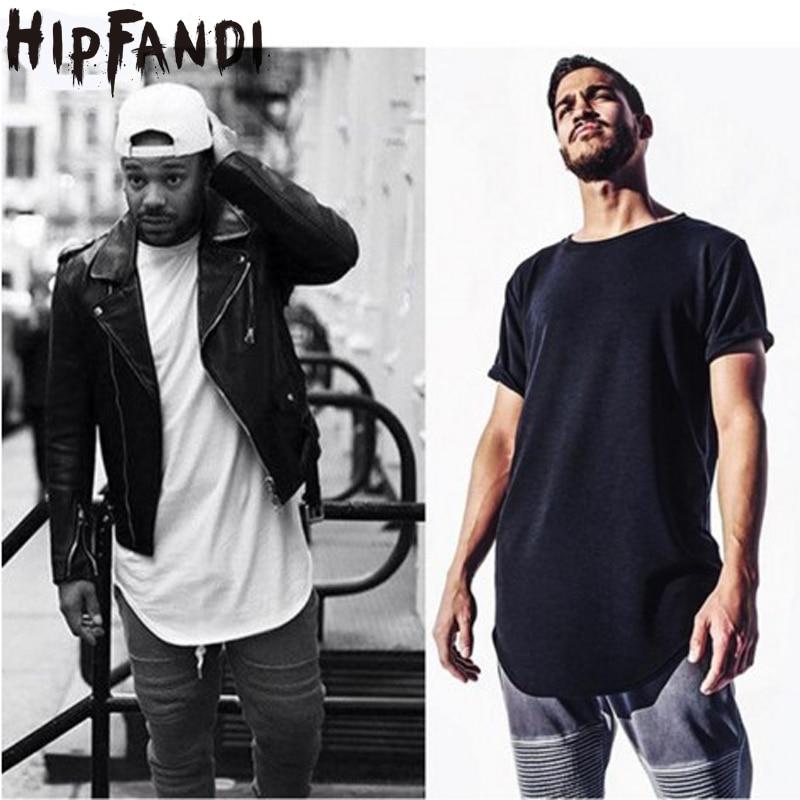 Curves Hem Hip Hop t-särk Men 2019 Summer Kpop Longline pikendatud t-särgid Mees T-särgid Kanye West Justin Bieber Aasia suurus