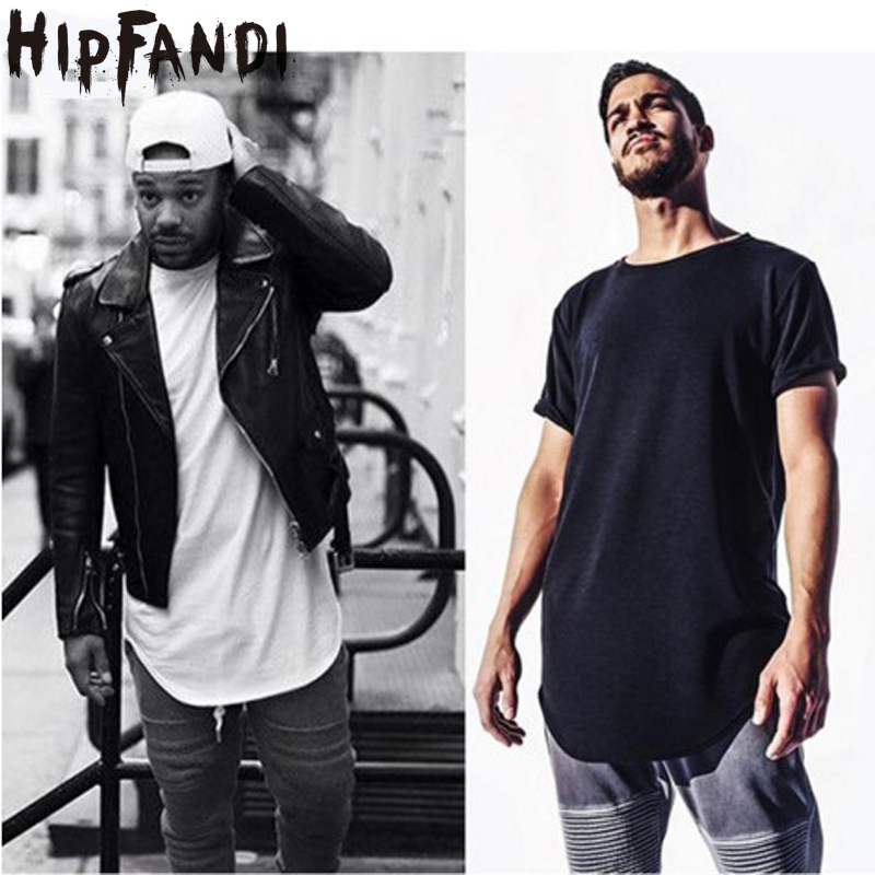 Curves Hem Hip Hop t-särk Men 2019 Summer Kpop Longline pikendatud - Meeste riided