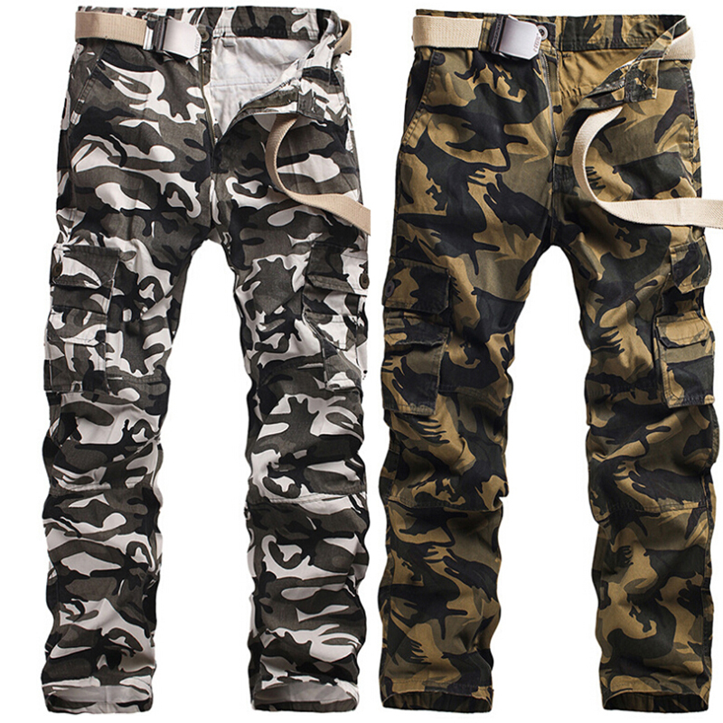 Army Green Snow White Camouflage Cargo Pants Men Camo Trousers Loose Cotton Multi Pocket Plus Size