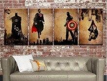 Hand-painted 4 Panel Arts Abstract Marvel Comics Heroes Oil Painting Retro Movie Star Batman, Hulk, Captain America, Thor Poster