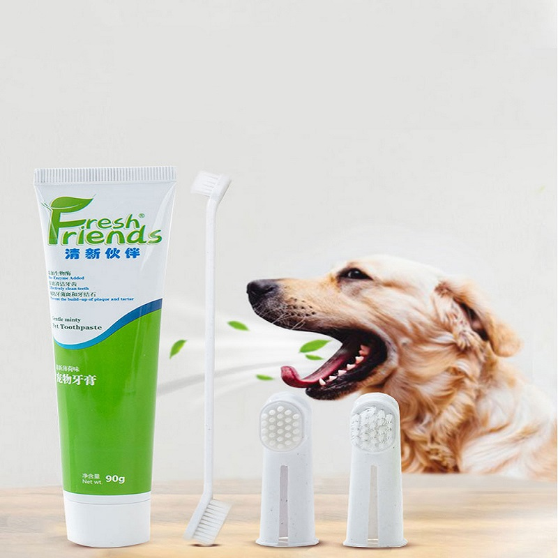 Pet Toothbrush Toothpaste Set edible Dog Toothpaste Cat Toothbrush to Calculus Drushing Teeth Except Bad Breath Supplies