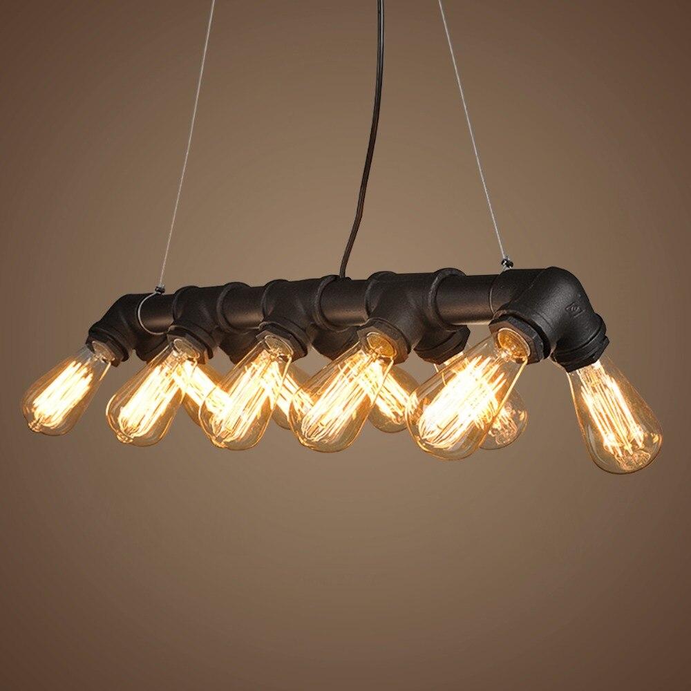 modern simple water pipe shape blackbronze iron 10 lights chandelier vintage e27 chandelier home chandelier home office lighting