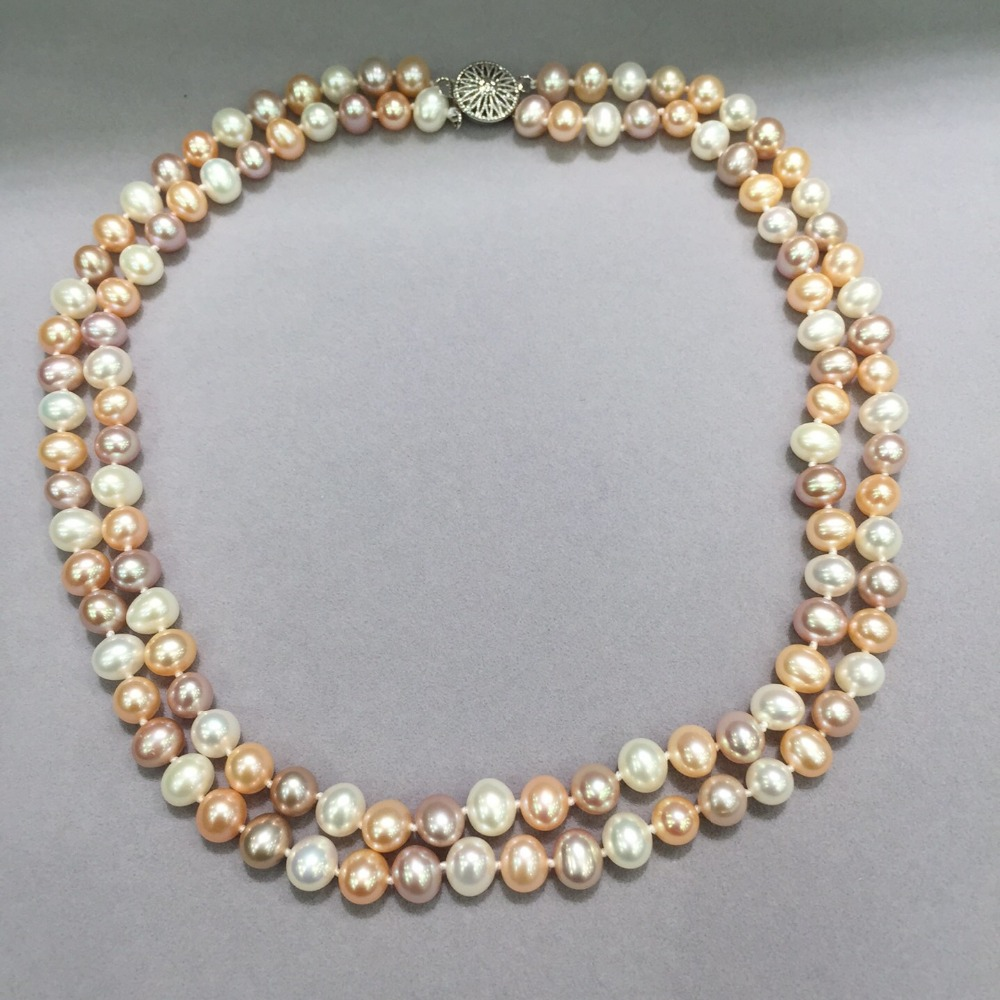 7-8MM  natural fresh water pearl necklace double layers  nearround flawless mutli color pearl necklace fashion women jewelry 7-8MM  natural fresh water pearl necklace double layers  nearround flawless mutli color pearl necklace fashion women jewelry