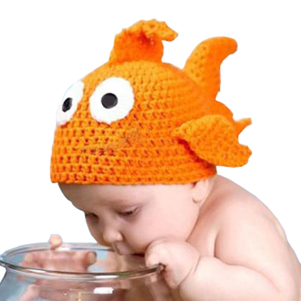 Cute Baby Girl Boy Goldfish Photography Prop Photo Crochet and Knit Hat for newborn 0-6 months caps winter crochet dropshipping