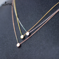 Genuine 925 Sterling Silver Necklaces Pendants Simple Mini Round Peas Pendant Rose Gold Yellow Gold Silver