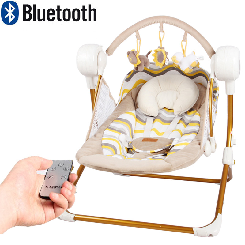 0-18 month newborn Brand Cradle Electric Music Rocking Chair Automatic swing Sleeping Basket Golden Frame 8GB Bluetooth USB baby electric cradle frame steel frame controller with basket and swingger can load 100kg cradle frame