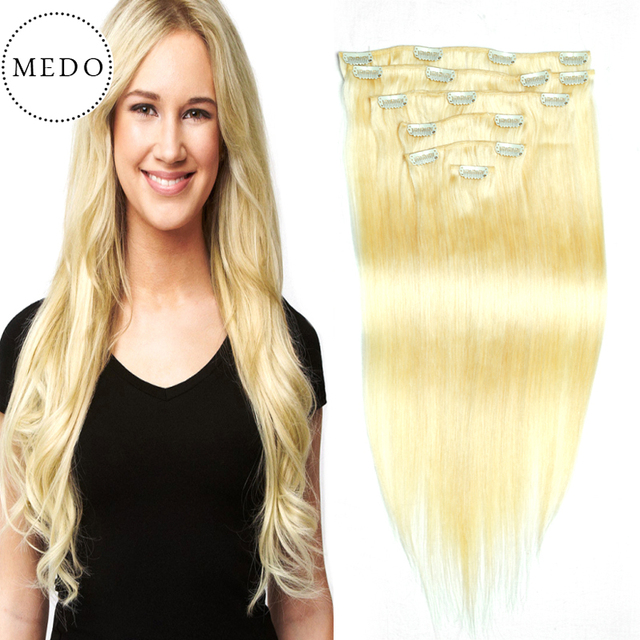 Platinum Blonde Clip In Straight Human Hair Brazilian Clip In Hair