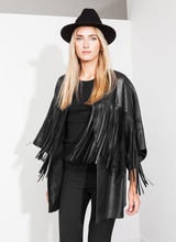 Free shipping 2016 new winter the wind tunnel long cloak type hollow fringed leather loose coat
