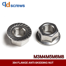 304 316 M3M4M5M6M8 stainless steel flange anti-skidding nut DIN6923 GB6177.1 JIS B 1190.1