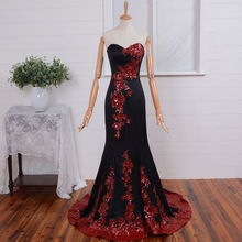 real photos red sequined lace appliques 2016 new hot&sexy black long mermaid evening dress vestidos de festa elegant prom gown