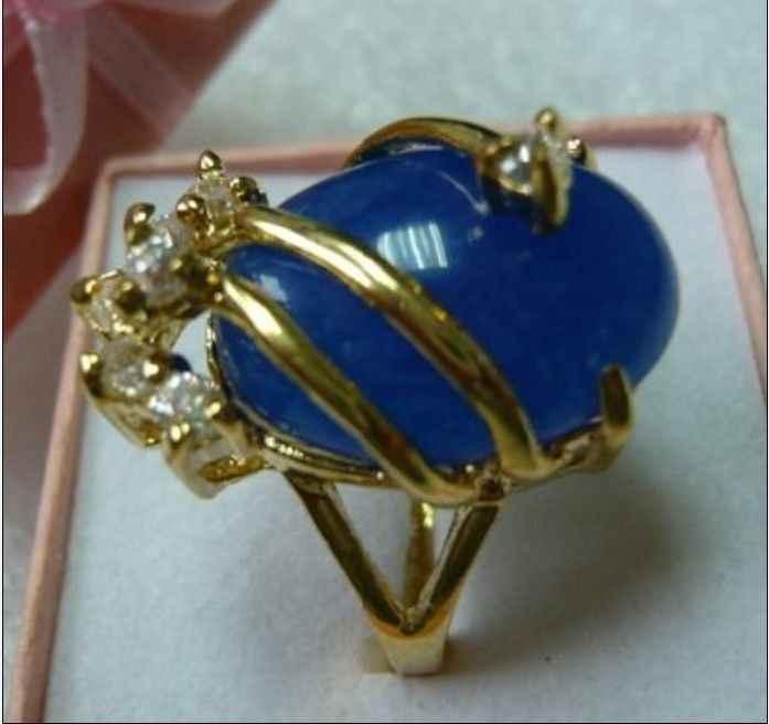 จัดส่งฟรี>>>@@เตรียมพร้อมแหวนหยกสีฟ้า18KGP (#7 8 9) #