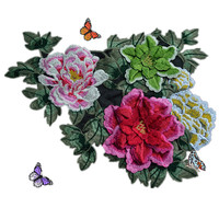 3D Multicolor Lace Patch Fabric Peony Applique Computer Embroidered Flowers Stage Clothes Diy Accessories RS808