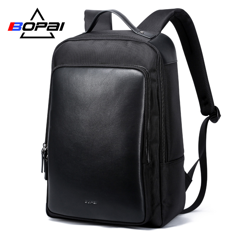 BOPAI 2018 Leather Travel Backpacks for Men Anti Theft Pocket Unisex Knapsack Shoulder Backpack Bags Waterproof Men Travel Bags fashion canvas men backpack anti theft with usb charging laptop backpacks business unisex knapsack shoulder women travel bags