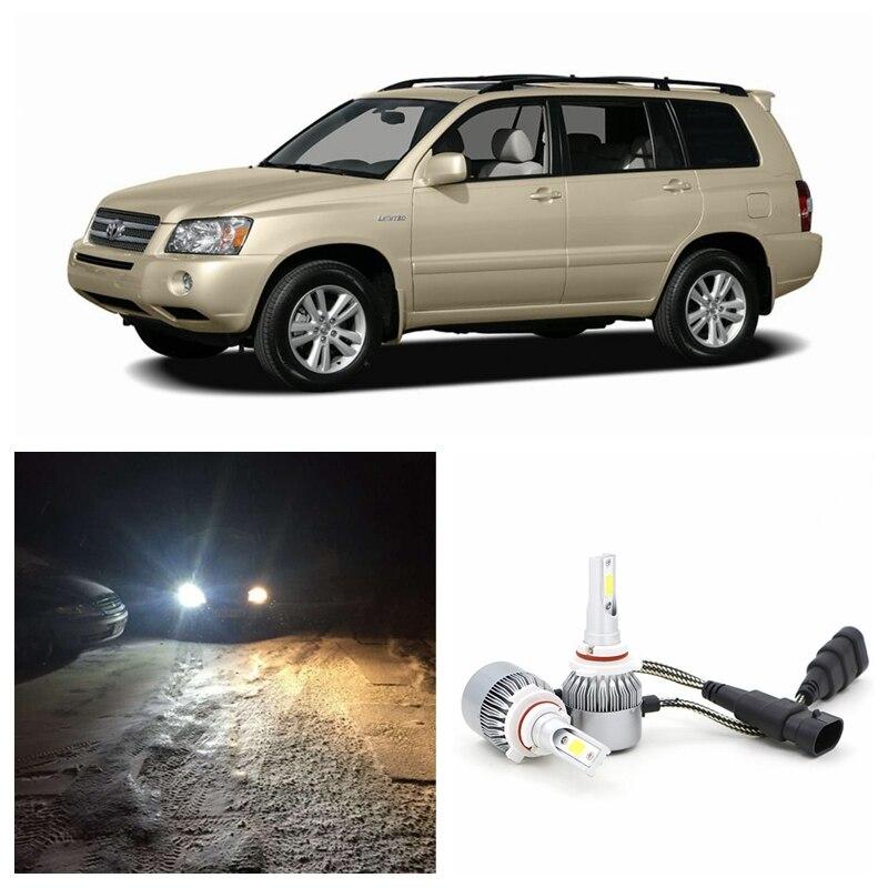 Edislight High Power 72W 7600LM LED Headlight Kit Low Beam Bulbs For 2001-2007 Toyota Highlander White Car Light Headlamp