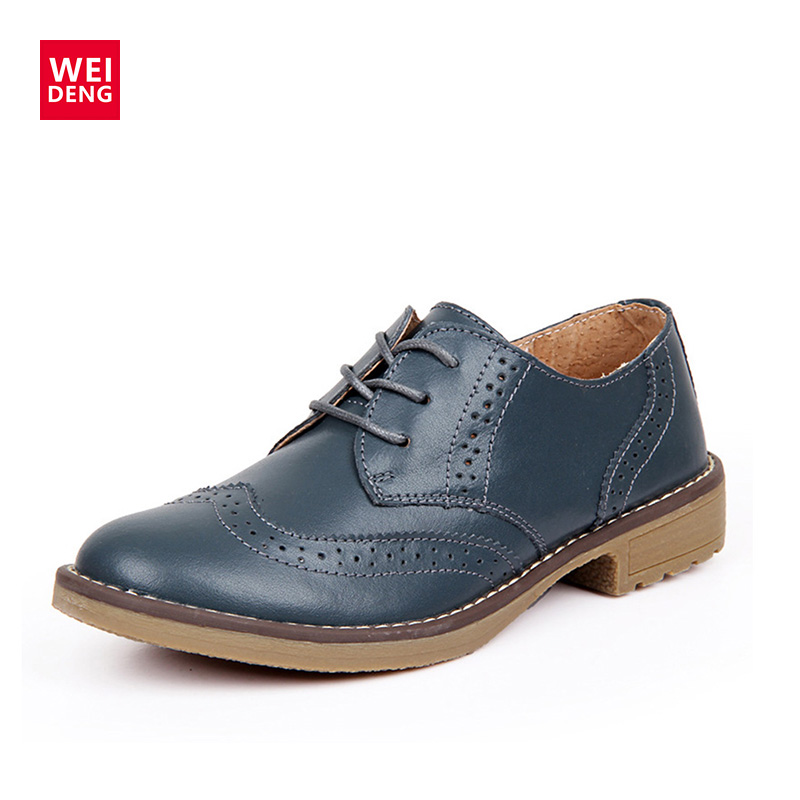 WeiDeng Genuine Leather Women Brogue Lace Up Vintage Shoes Classic Flat Low Heels Oxfords Boots Schoenen Vrouw Handmade brogue boots two tone