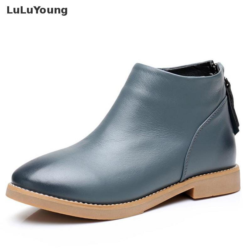 Genuine Leather Shoes Women Winter Female Flat Ankle Boots Sy-2572 sweet years sy 6128l 21