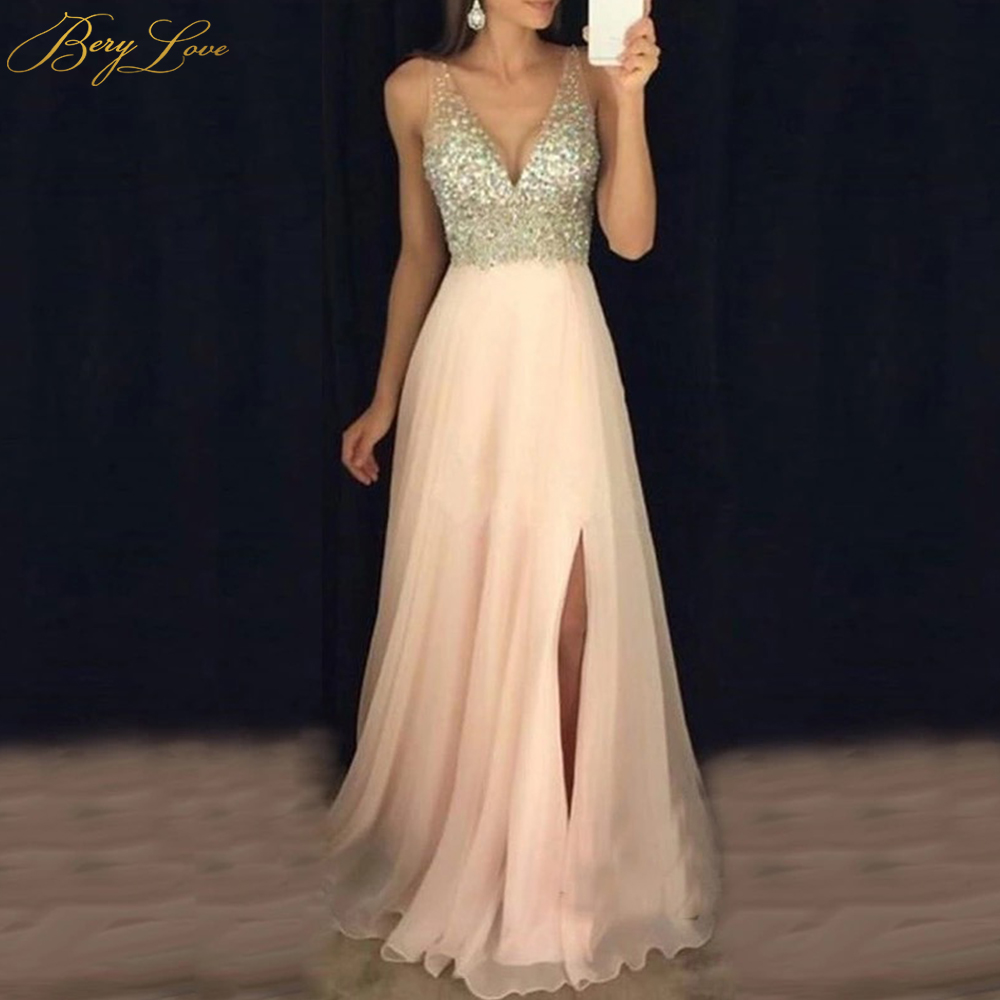 Blush Pink Elegant 2019 Evening Dress Diamond Crystal Beaded Sexy V Neckline High Slit Chiffon Prom Dress Long Re Soiree Robe