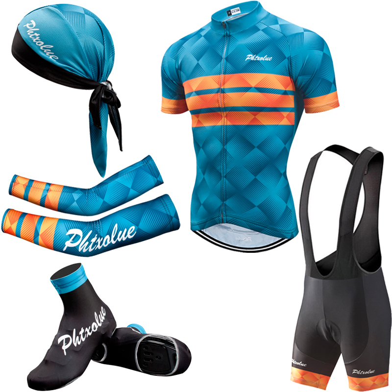 Phtxolue Summer Cycling Set Men Bike Clothing Bicycle Wear  Maillot Ropa Ciclismo Short Sleeve Cycling Jersey SetsCycling Sets   -