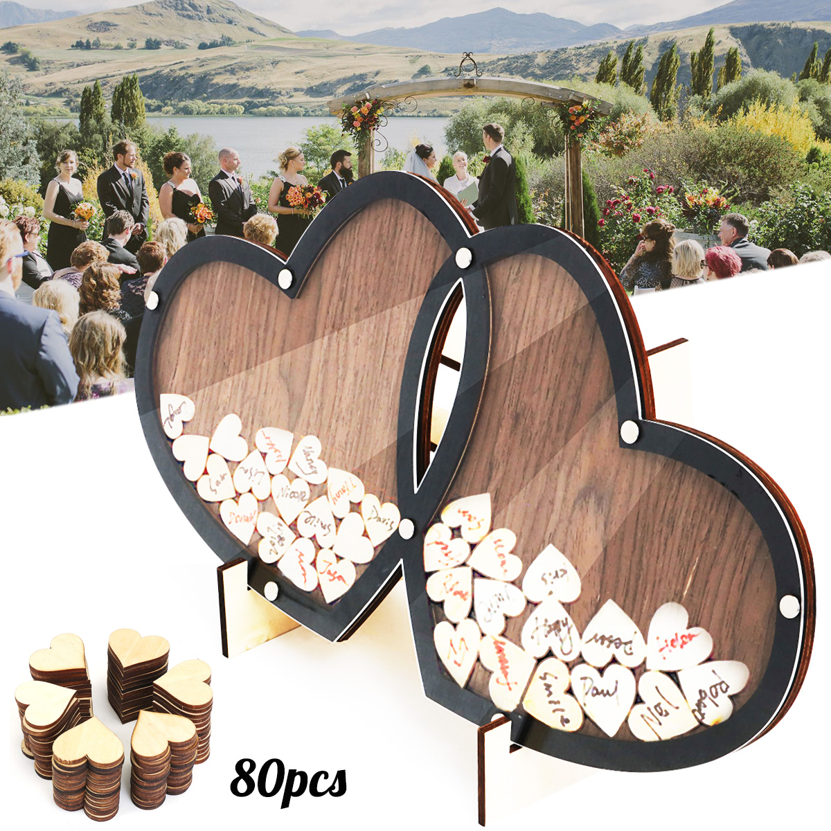 Wooden Hearts Wedding Guest Book Double-Heart Frame Holder Stand Visit Sign Book Guestbook Party Decor Ornaments with 80 HeartsWooden Hearts Wedding Guest Book Double-Heart Frame Holder Stand Visit Sign Book Guestbook Party Decor Ornaments with 80 Hearts