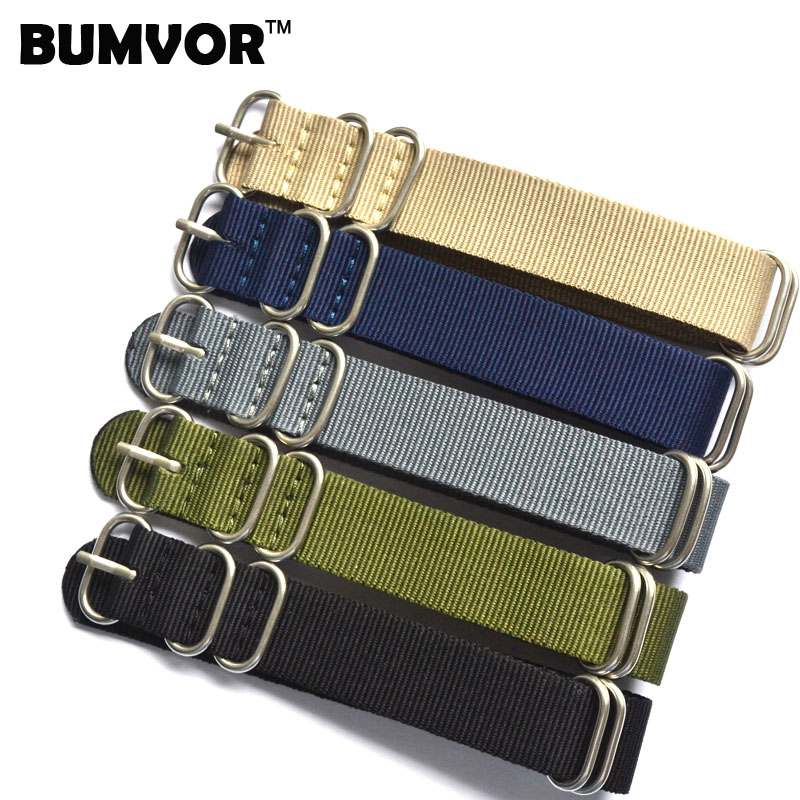 New Arrival 5 Ring Watchband Military Quality Nylon ZULU <font><b>NATO</b></font> <font><b>18mm</b></font> 20mm 22mm 24mm G10 Watch <font><b>Strap</b></font> Multiple color selection image