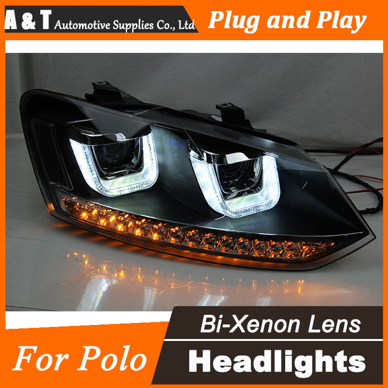 Car Styling for VW Polo Headlights 2009-2015 GTI LED Headlight DRL Bi Xenon Lens High Low Beam Parking Fog Lamp Accessories car fog light for vw passat b6 2006 2009 car styling clear lens left