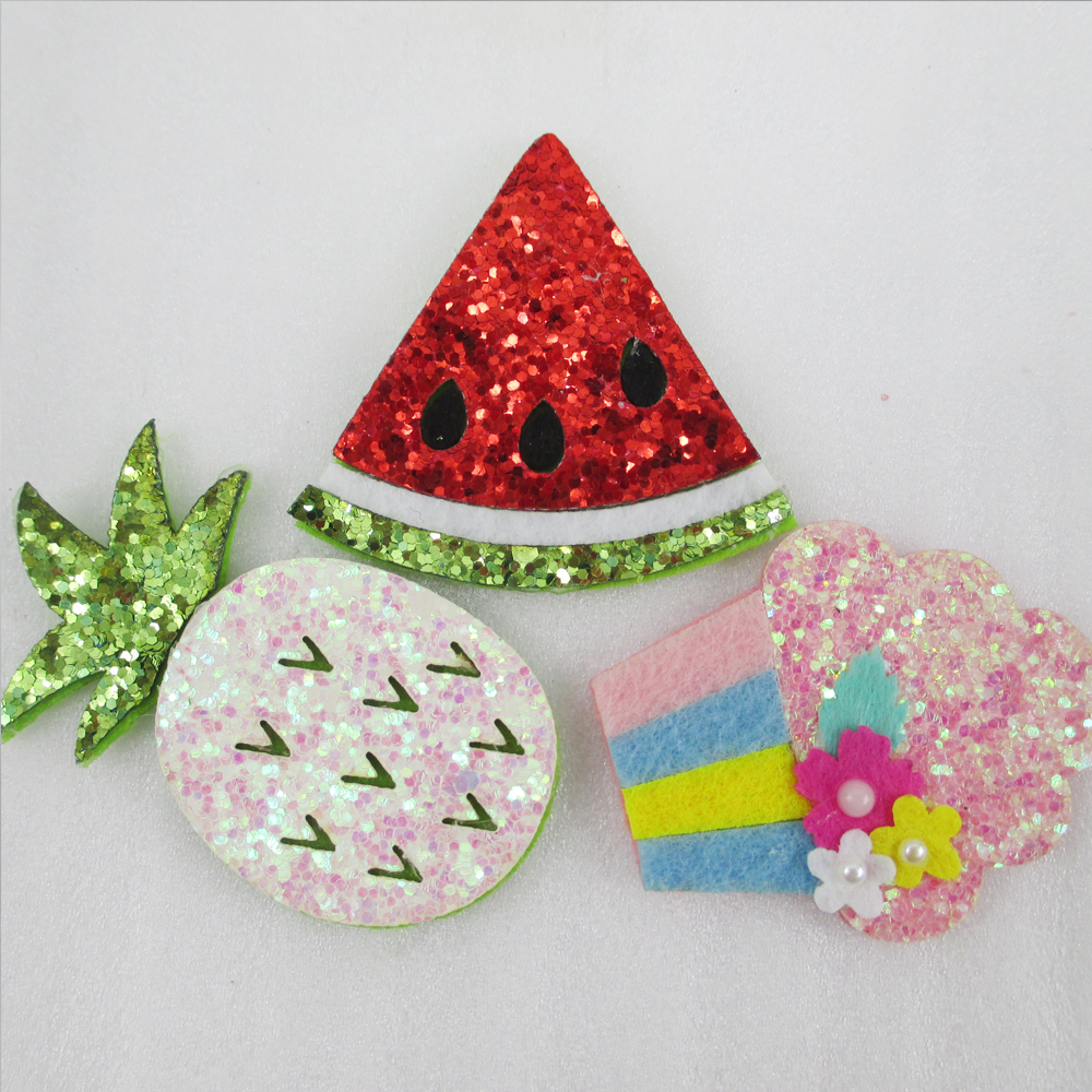 David accessories Non-woven Cake Pineapple Watermelon Girls Glitter Hair Accessories 10 Pieces, DIY Handmade Materials,10Y48001