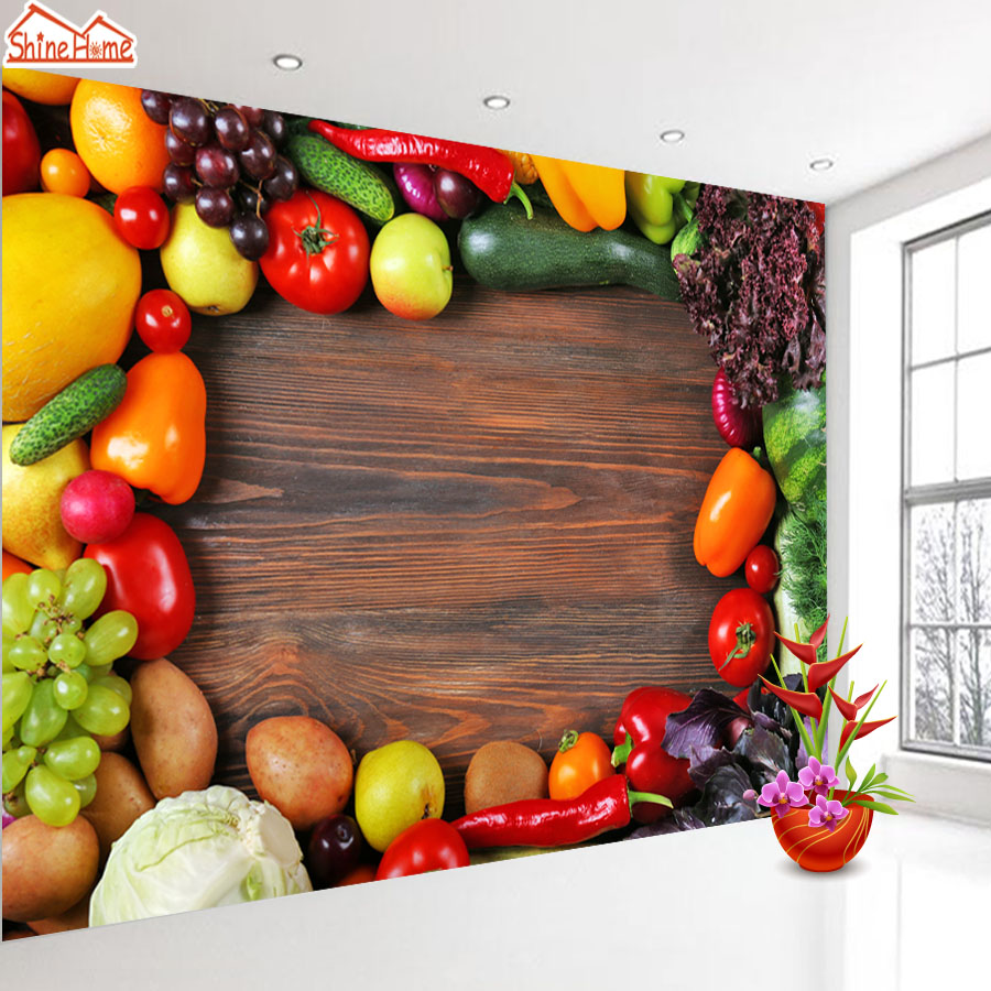 ShineHome 3D Wallpaper Vegetable Fruit Wood Board Wall ...
