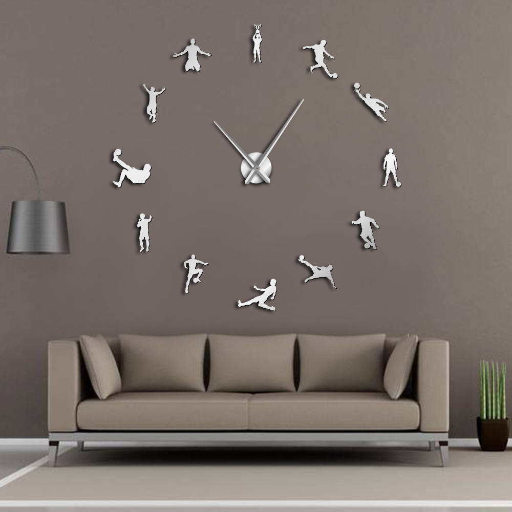 Football Players Contemporary DIY Oversized Wall Clock Soccer Game Large Clock Watch Kids Football Fans Living Room Wall Decor