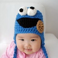 free shipping,cookies Sesame Street Crochet baby Hat Beanie 100% Cotton New