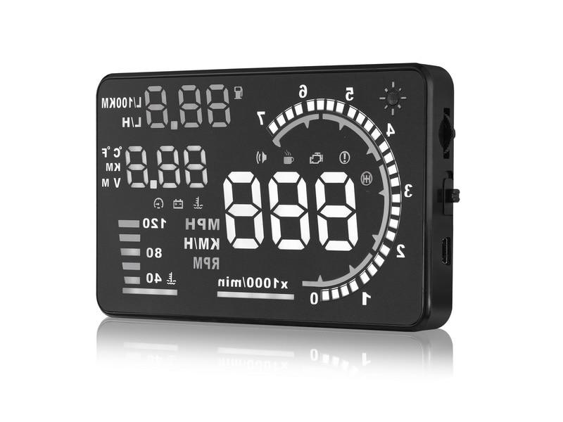Carro Hud Cabeça Up Display 5.5 Polegada HD Consumo de exibição Projetor OBD2 Brisas De Diagnóstico de Dados Sobre O Alarme da Velocidade