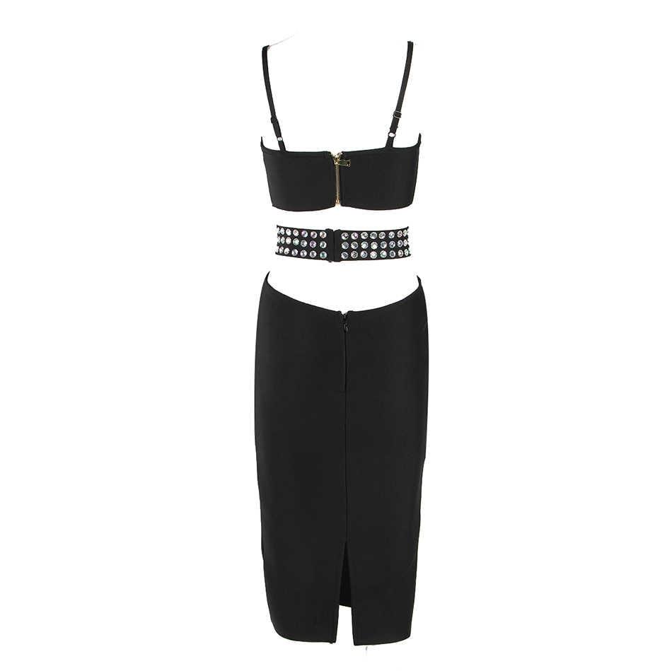 2017 Nuevo verano mujeres sin mangas sin tirantes vestido vendaje dimonds ventilación sexy bodycon celebridad fiesta negro blanco vestidos