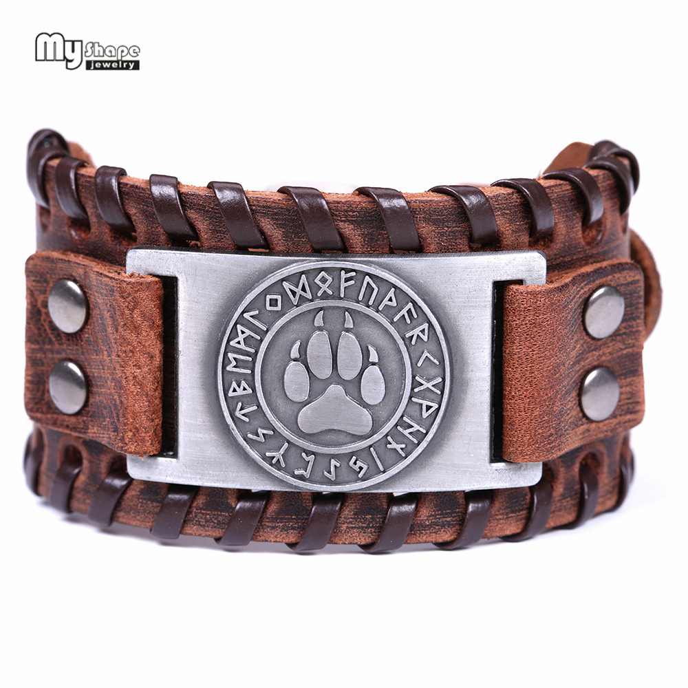 My Shape Bear Paw Handmade Braided Genuine Leather Strap Wolf Claws Viking Bracelets Bangles Nordic Runes Wristbands Odin Symbol