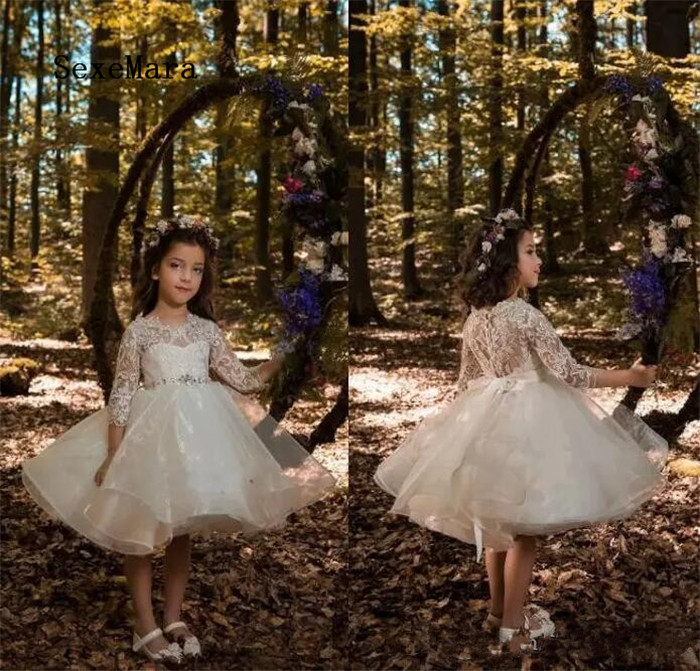 New Lovely Ivory Princess Flower Girls Dresses for Weddings Crew Neck Lace Long Sleeves Pageant Gowns for Little Girls yellow hollow design crew neck flared sleeves dress