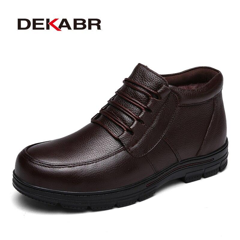 DEKABR/2018 новый ручной Для мужчин Зимняя обувь из натуральной кожи высокое качество зимние Мужские Ботинки Ботильоны для Для мужчин большие Ра...
