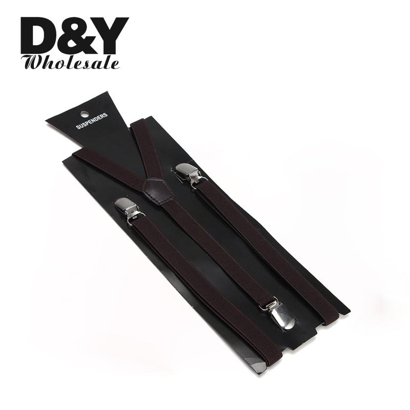 Free shipping 1.5cm wide brown color suspender Unisex Clip-on Elastic Braces Slim Suspender Y-back Suspenders/gallus Braces