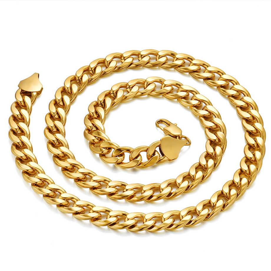 Miami curb cubana link corrente colar hiphop prata ouro cor aço inoxidável correntes para homem e mulher hip hop jóias