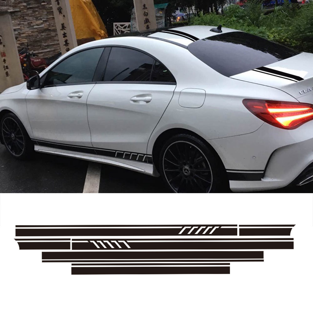 Edition 1 Stripe Top Roof Bonnet Side Stripes Decal Stickers for Mercedes Benz W117 C117 X117 CLA45 AMG 5D Carbon Fibre/Silver yandex w205 amg style carbon fiber rear spoiler for benz w205 c200 c250 c300 c350 4door 2015 2016 2017