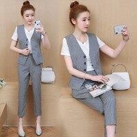summer 2018 Sleeveless suit summer new Korean fashion t shirt vest pants cotton linen suits office lady outfit design 3 pcs