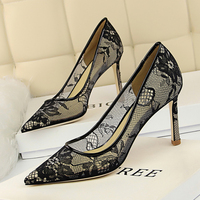 BIGTREE black high heels party shoes woman stiletto fashion lace tacones altos mujer sexy summer shallow pointed toe women pumps